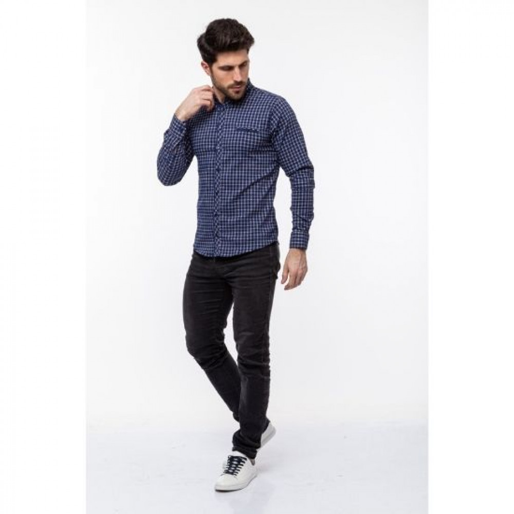 Рубашка Varetti синяя клетка