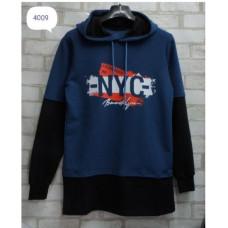 Худи NYC с капюшоном синий