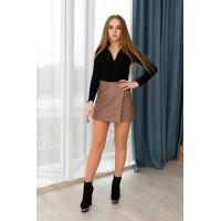 Кожанные юбка-шорты Wafa мокко