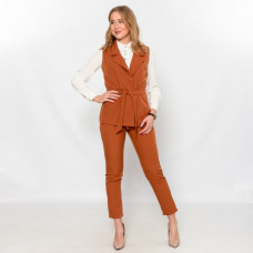 Брючный костюм- жилеткой Wafa коричневый